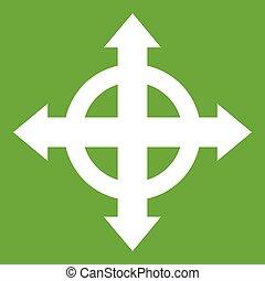 setas, verde, alvo, ícone