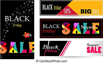 Setbanner with text Sale black Friday.