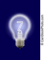 sete, elétrico, lamp., número, interior, brilho
