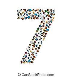 sete, grupo, 7 pessoas, número, ilustração, form., grande, vetorial, font.