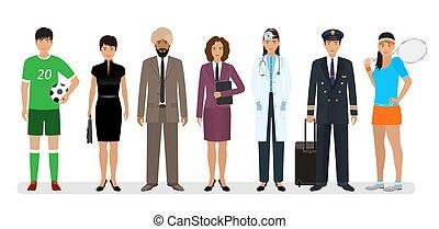 sete, grupo, banner., trabalhadores, pessoas, diferente, trabalho, caráteres, empregado, occupation., emprego, dia
