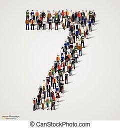 sete, grupo, forma, pessoas, número, grande, 7