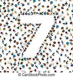 sete, grupo, pessoas, número, form., grande, 7