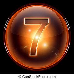 sete, número, icon.