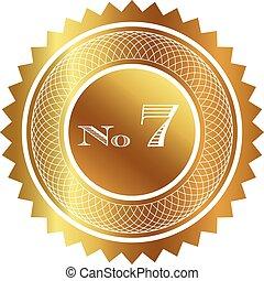 sete, número, selo ouro