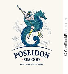 Arte Deus Vetorial Desenho Mar Poseidon Apartamento