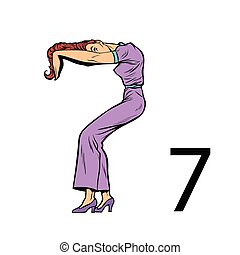 sete, silueta, pessoas negócio, 7., número, alfabeto