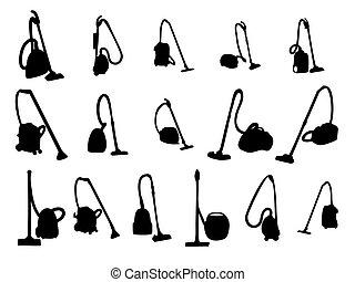 sete, vektor, cleaners., illustration., vakuum