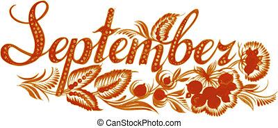 setembro, a, nome, de, a, mês
