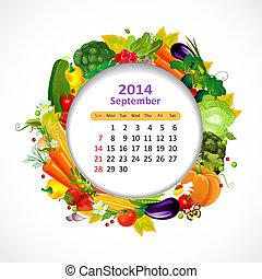 setembro, calendário, 2014
