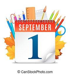 setembro, calendário, primeiro