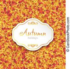 setembro, folhas, outono, fundo, laranja, cartão, textura