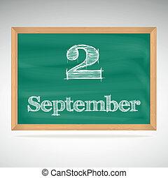 setembro, inscrição, 2, giz, quadro-negro