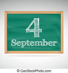 setembro, inscrição, 4, giz, quadro-negro