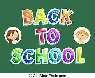 setembro, novamente, schoolchildren, costas, escola