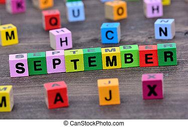 setembro, tabela, palavra