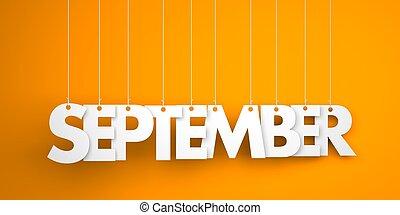 setembro, -, texto, pendurar, a, strings., 3d, ilustração