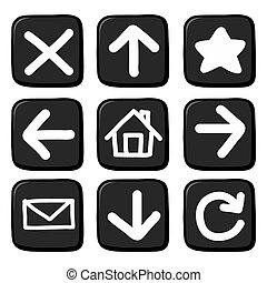 set.illustration, empate, mano, icono