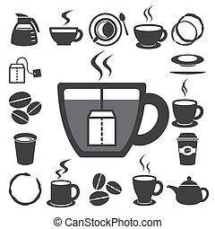 set.illustration, tea kávécserje, ikon, csésze