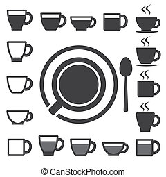 set.illustration, teekaffee, ikone, becher