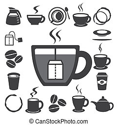set.illustration, thee koffie, pictogram, kop