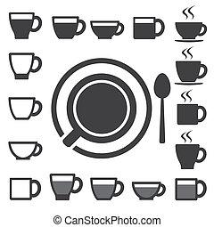 set.illustration, thee koffie, pictogram, kop
