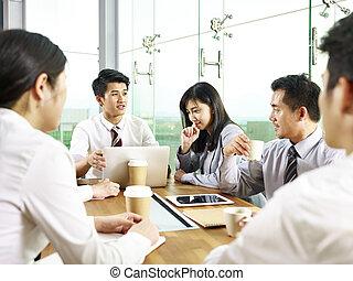 setkání, asijský, úřad, business národ