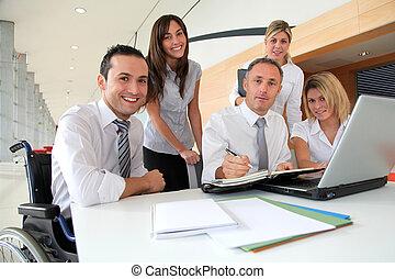setkání, dělníci, skupina, úřad, povolání