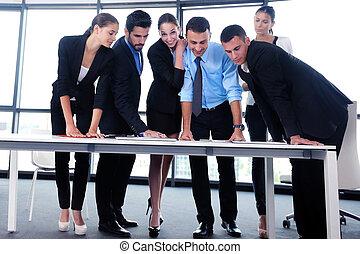 setkání, skupina, business úřadovna, národ