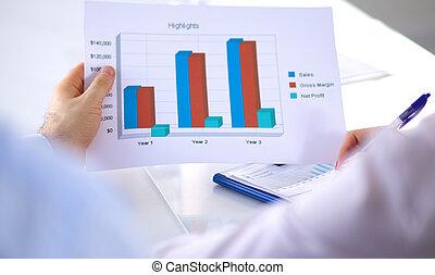 setkání, správce, povolání, -, jeho, discussing, postup kolega