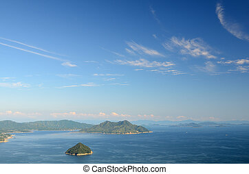 Seto Inland Sea as seen from Mt. Misen on Miyajima Island,...