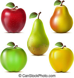Setof fruits - Set of red, yellow and green apples and...