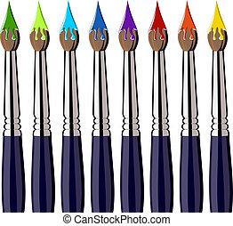 setole, vernice, colori, spazzole, allineato