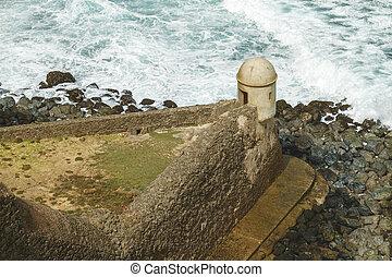 Setry box overlooking Atlantic ocean at El Morro Fortress, San Juan, Puerto Rico