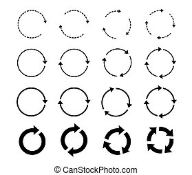 Sets of black circle arrows. Vector Icons.
