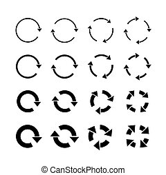 Sets of black circle arrows. Vector Icons