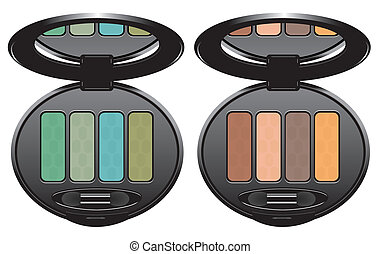 sets of multicolored eye shadows isolated on white, vector