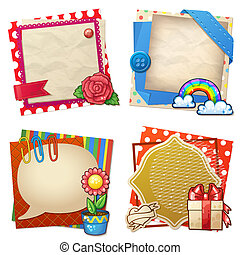 Sets of paper and other items for scrapbooking