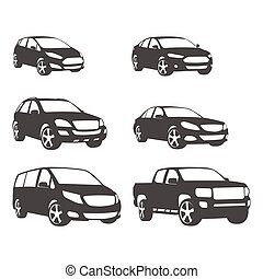 Sets of silhouette cars and on the road vehicle icon