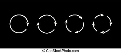Sets of white circle arrows. Vector Icons
