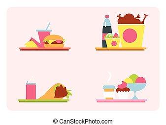 sets, s, hustě food, dále, jeden, podnos