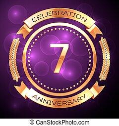 sette, anni, celebrazione anniversario, con, dorato, anello, e, nastro, su, viola, fondo.
