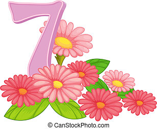 sette, azzurramento, fiori
