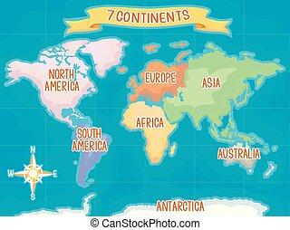 sette, continenti, geografia illustrazione