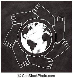 sette, continenti, globo, rappresentanti