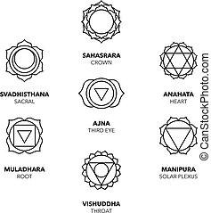 sette, grafico, chakras, semplice, set, icone, nero