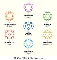 sette, grafico, symbols., chakras, set, colorito, icone