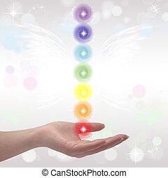 sette, guarigione, chakras, mani