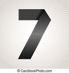 sette, metallo, -, numero 7, nastro