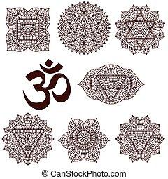 sette, set, chakras